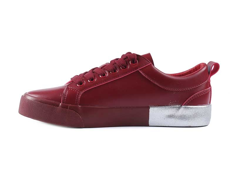 New arrival Pu Splicing Foxing woman shoes