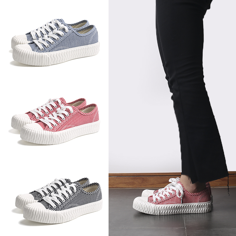 Stripe lace up women's canvas shoes