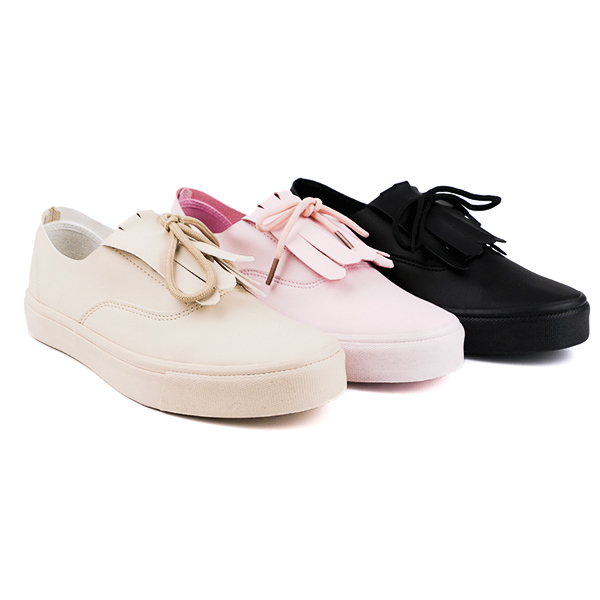 Fiber Pu slip on woman's sneaker