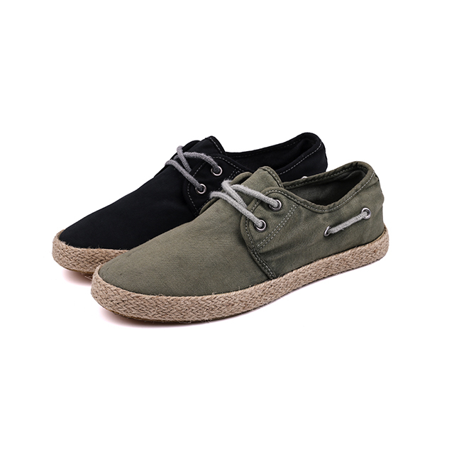 Linen lace up men's vulcanized shoes