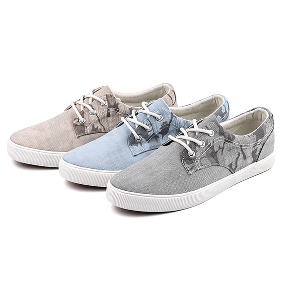 Printed lace up men's vulcanized shoes