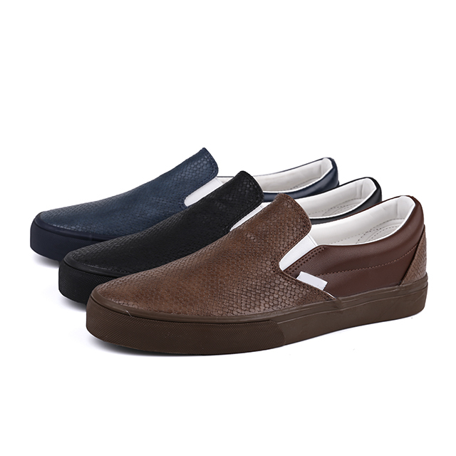 PU leather slip on man skate shoes