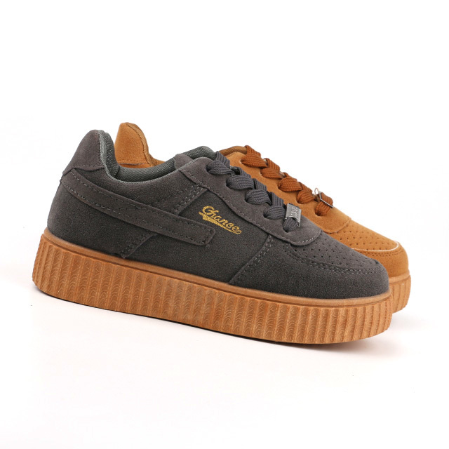PVC sole lace up kids sneaker