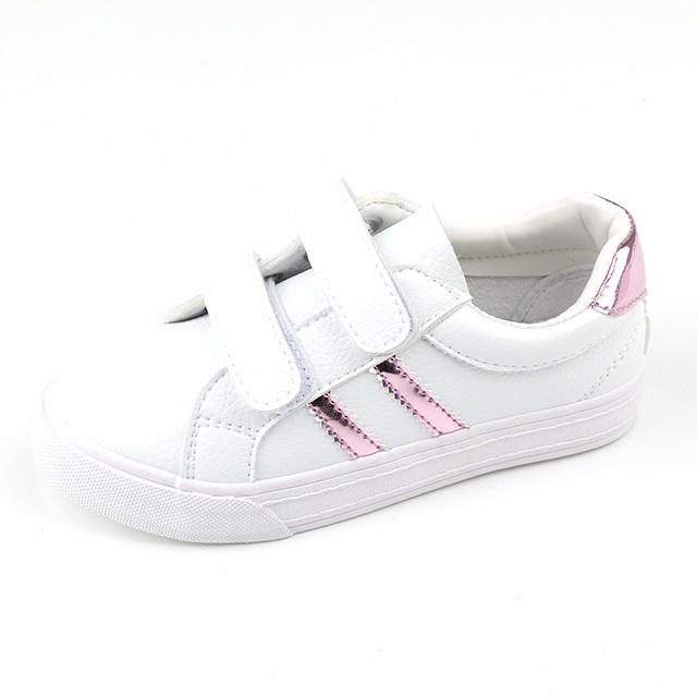 Fiber PU buckle strap children casual shoes