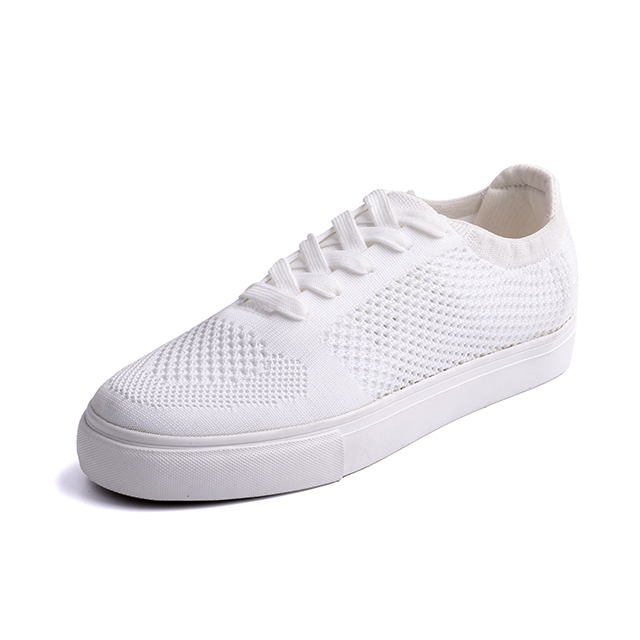 White woven low-cut girl's sneakers