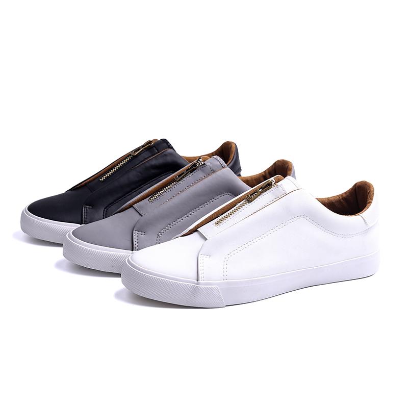 Zipper low cut man's slacker shoes