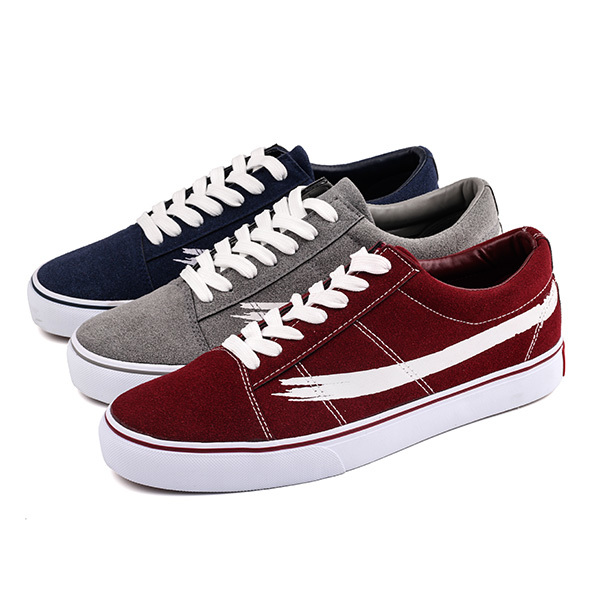 Imitation suede lace up men skate sneakers