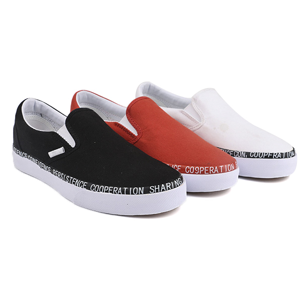 Fabric slip on woman skate shoes