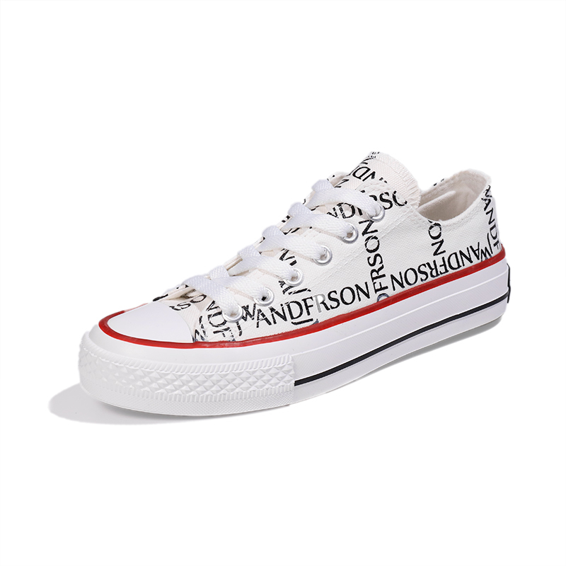 Printed lace up women's canvas shoes