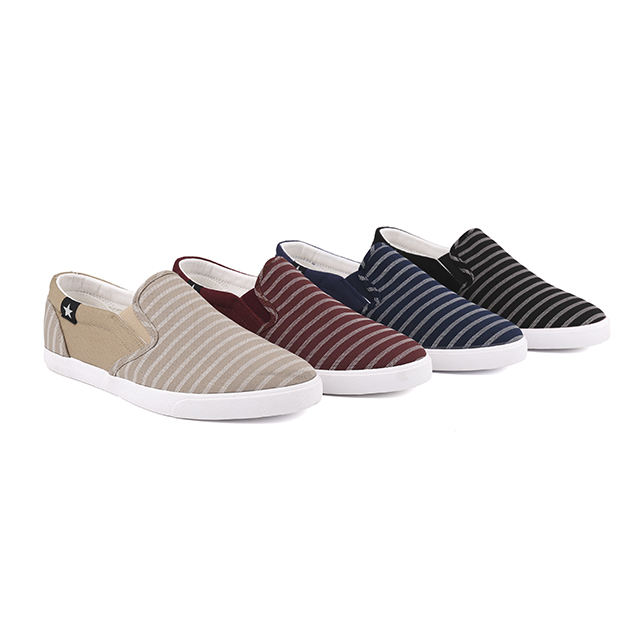 Stripe canvas low cut man's slacker shoes