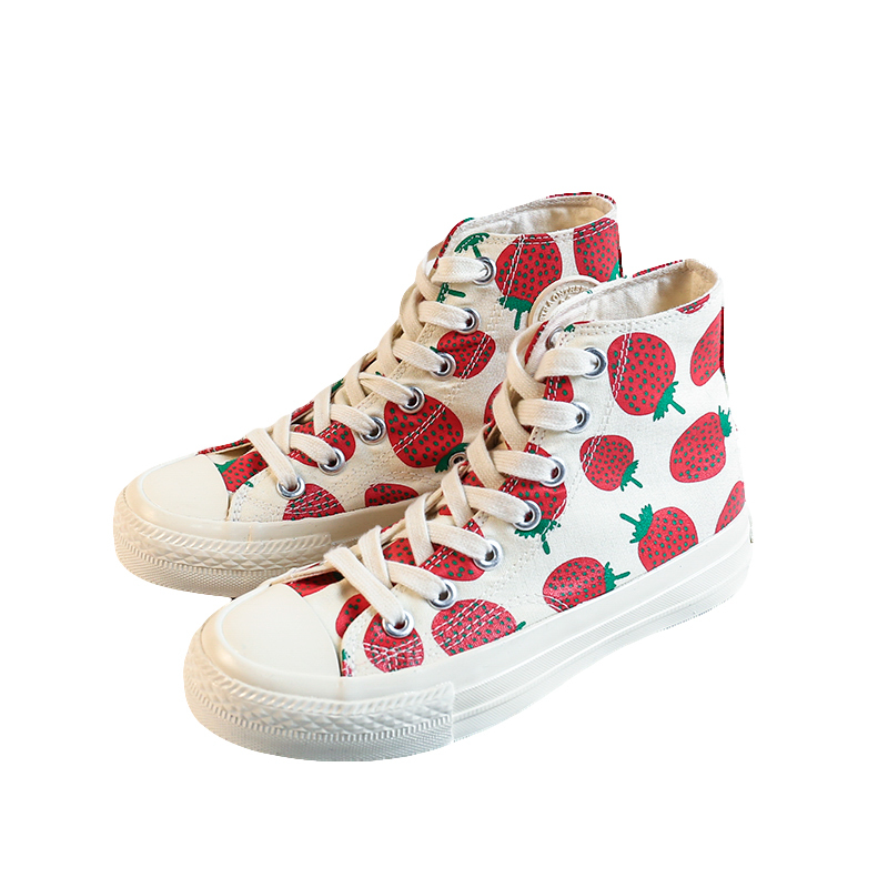 New model high top ladies canvas shoes