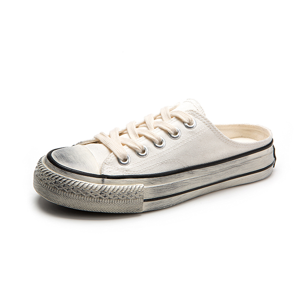 Dirty lace up ladies canvas shoes