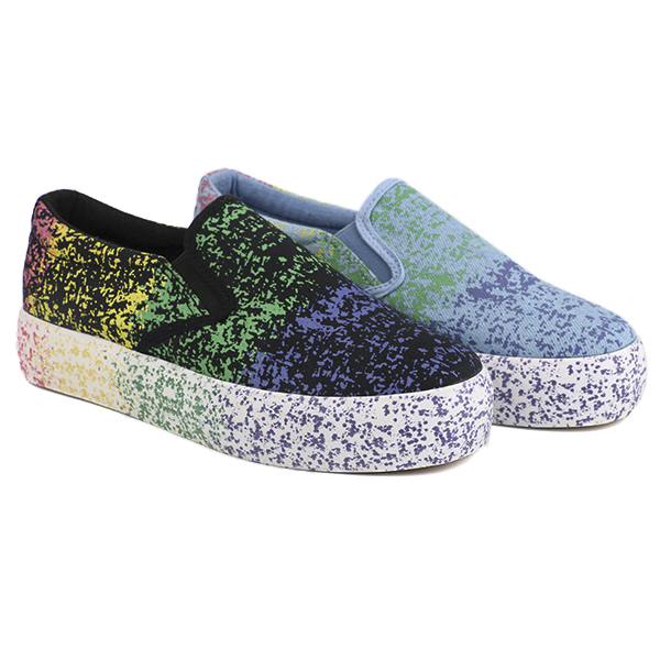 Printed no lace girl's school shoes