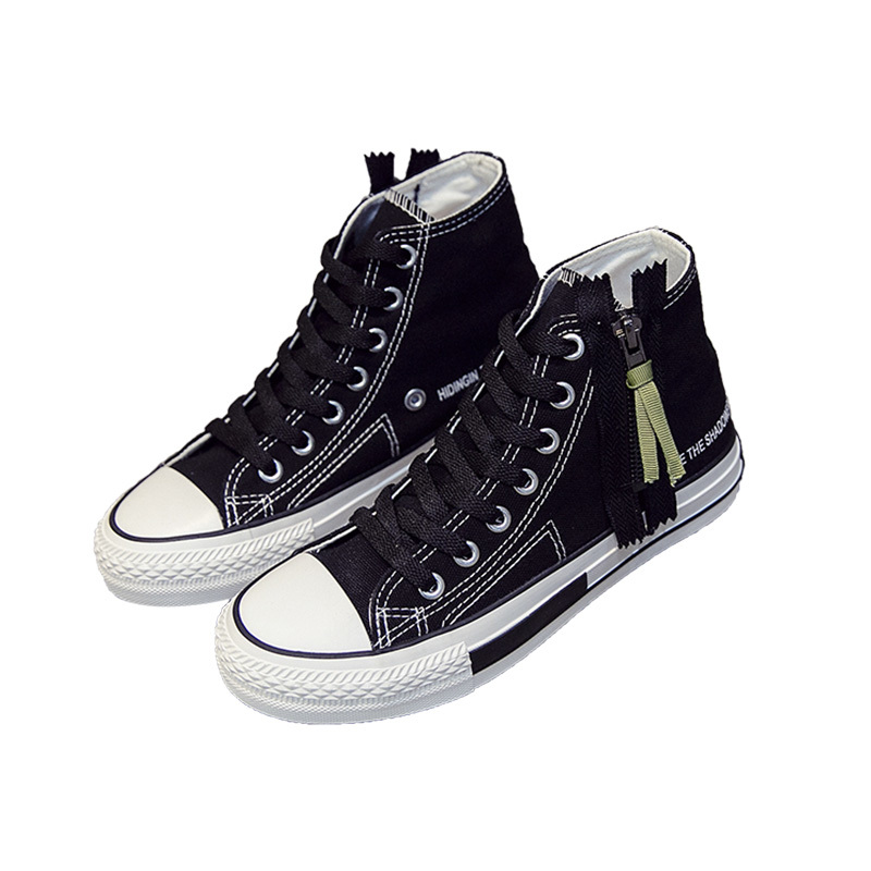Zipper high top girls vulcanized shoes