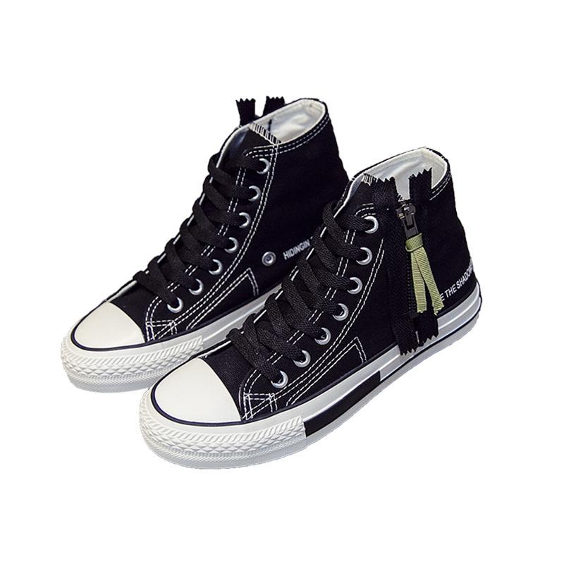 Zipper high top girls vulcanized shoes