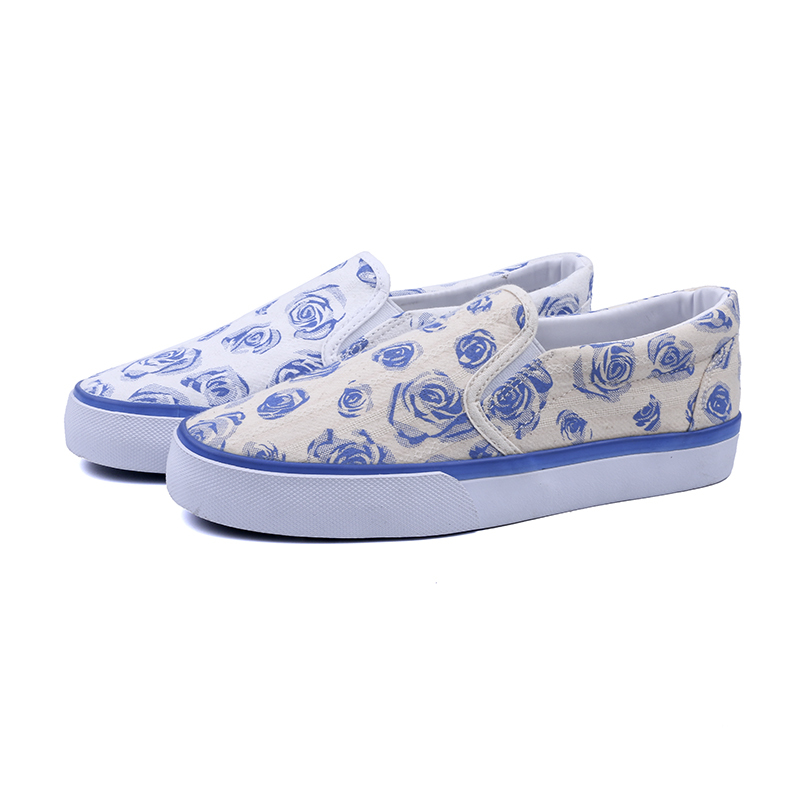 Flower canvas low cut lady casual shoes