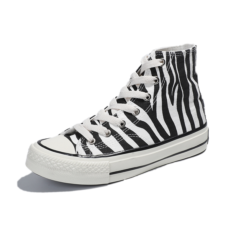 Zebra pattern high top girls vulcanized shoes
