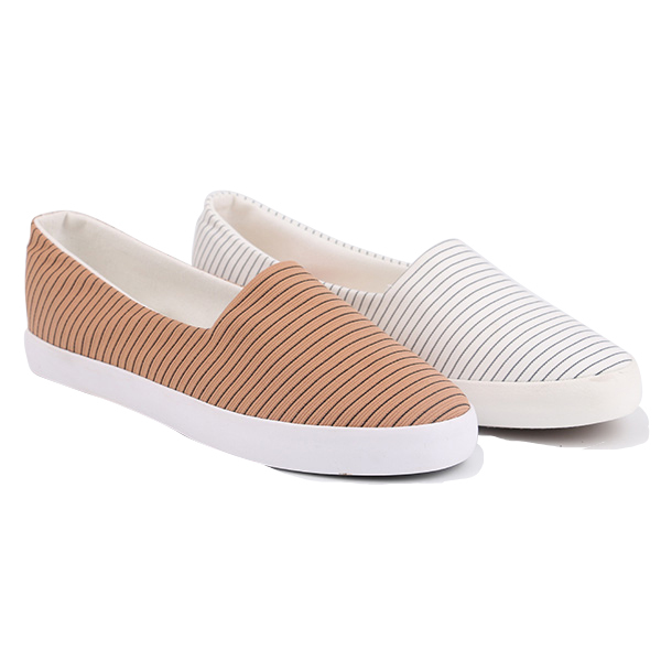 Stripe low cut lady casual shoes