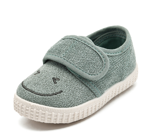 Linen buckle strap baby gym shoes