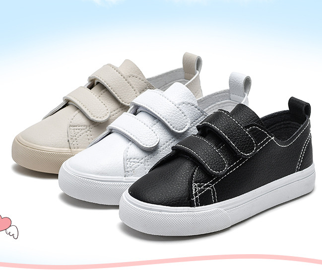 Fiber PU buckle strap child walking shoes