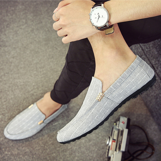 Textile man slip on casual shoes