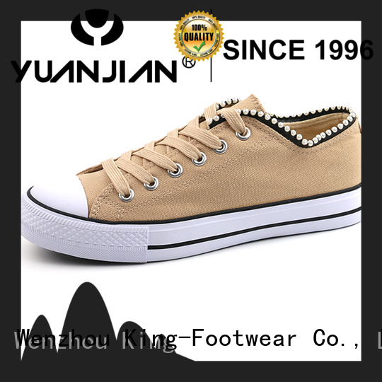 King-Footwear good quality womens canvas shoes lace up sneakers wholesale for daily life